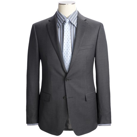 Calvin Klein Wool Herringbone Suit - Slim Fit (For Men) in Grey
