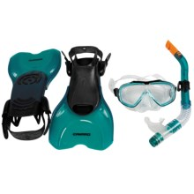 Camaro Diving Travel Set - Snorkel, Mask, Fins in Blue Green - Closeouts