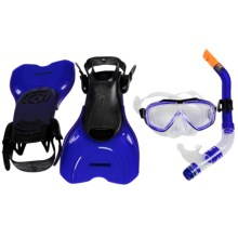 Camaro Diving Travel Set - Snorkel, Mask, Fins in Blue - Closeouts