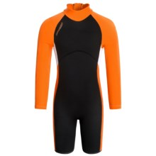 Camaro EvoStretch BreakerPro Shorty Wetsuit - 3mm, Long Sleeve (For Little and Big Kids) in Black/Orange - Closeouts