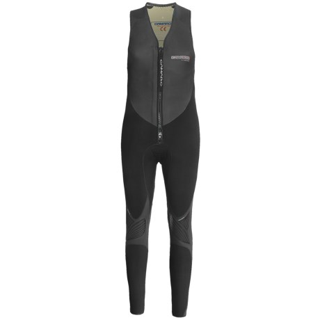 Camaro Freefall Farmer John Wetsuit - 4mm (For Men) in Dark Grey/Charcoal/Black / Grey Logo