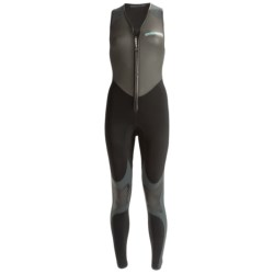 Camaro Freefall Farmer John Wetsuit - 4mm (For Women) in Black/Dark Greyy/Turquoise Logo