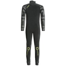 Camaro Ice Tec Semi-Dry Overall Surfing Wetsuit - 5/4mm (For Men) in Black/Lime Green - Closeouts
