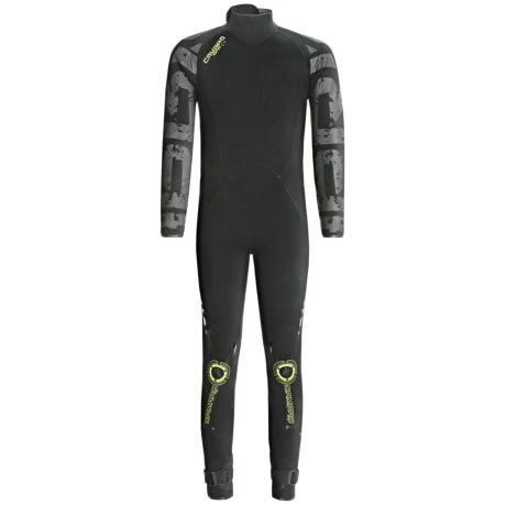 Camaro Ice Tec Semi-Dry Overall Surfing Wetsuit - 5/4mm (For Men) in Black/Lime Green
