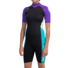 Camaro Mono Breaker Shorty Wetsuit - 3mm (For Women) in Black/Purple/Blue - Closeouts