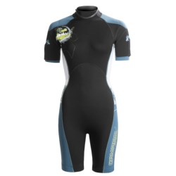 Camaro Mono Mundaka Shorty Wetsuit - 3mm (For Women) in Black/Blue Grey/White