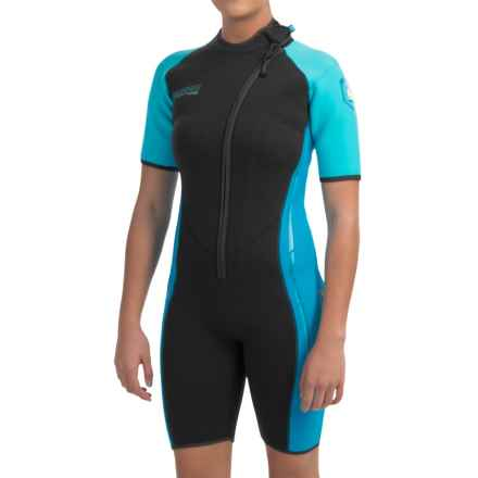 Camaro Mono Voltage Shorty Wetsuit - 3mm (For Women) in Black/Blue - Closeouts