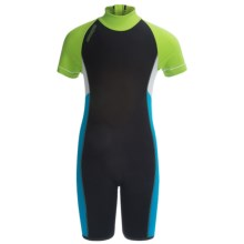 Camaro Mono Wave Jr. Shorty Wetsuit - 0.5mm (For Kids) in Black/Lime Green/Blue - Closeouts