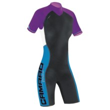Camaro Mono Wave Shorty Wetsuit - UPF 50+, 3mm (For Women) in Black/Purple/Blue - Closeouts
