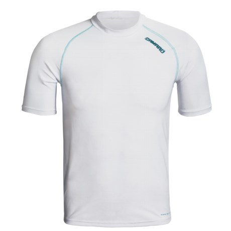 Camaro Mundaka Rash Guard Shirt - UPF 50+, Short Sleeve (For Men) in White W/Turquoise