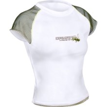 Camaro Prado Bay Rash Guard - UPF 50, Short Sleeve (For Women) in White W/Olive - Closeouts