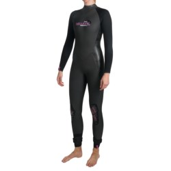 Camaro Prime Surfing Overall Wetsuit - 4/3/2mm (For Women) in Black/Dark Grey/Blue/Pink Logo