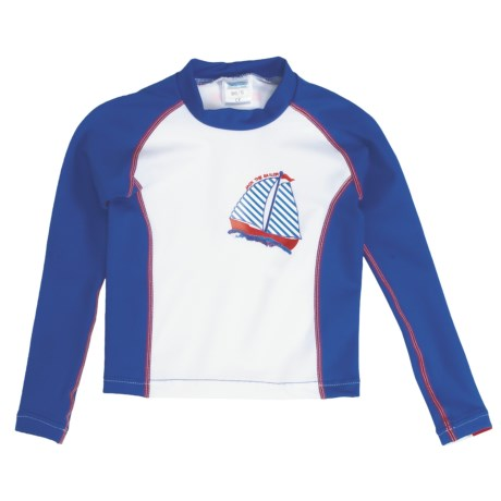 Camaro Rash Guard Top - UPF 50+, Long Sleeve (For Toddler Boys) in Blue/White