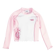 Camaro Rash Guard Top - UPF 50+, Long Sleeve (For Toddler Girls) in Pink/White - Closeouts