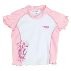 Camaro Rash Guard Top - UPF 50+, Short Sleeve (For Toddler Girls) in Pink/White