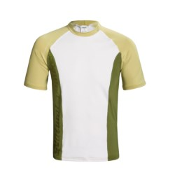 Camaro Rash Guard - UPF 50+, Short Sleeve (For Men) in White/Tan/Olive