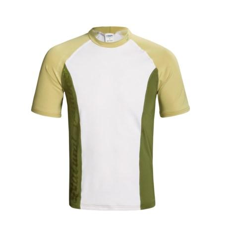 Camaro Rash Guard - UPF 50+, Short Sleeve (For Men) in White/Tan/Olive