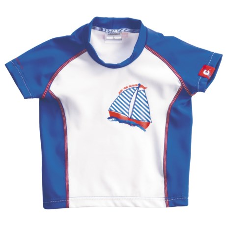 Camaro Rash Guard - UPF 50+, Short Sleeve (For Toddler Boys) in Blue/White