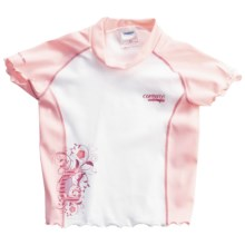 Camaro Rash Guard - UPF 50+, Short Sleeve (For Toddler Girls) in Pink/White - Closeouts