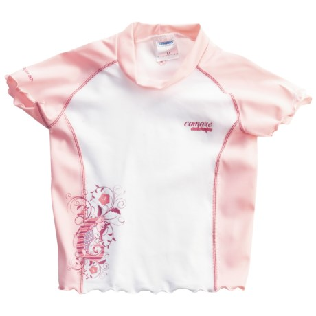 Camaro Rash Guard - UPF 50+, Short Sleeve (For Toddler Girls) in Pink/White