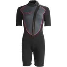 Camaro Shorty Wetsuit - Mono Voltage, 3mm (For Women) in Black/Dark Grey/Pink - Closeouts