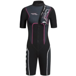 Camaro Shorty Wetsuit - Mono Voltage, 3mm (For Women) in Black/Dark Grey/Pink
