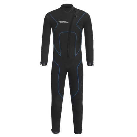 Camaro Stingray Semi-Dry Diving Wetsuit - 5mm (For Men) in Black/Blue
