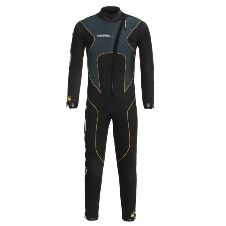 Camaro Stingray Semi-Dry Diving Wetsuit - 5mm (For Men) in Black/Grey/Orange