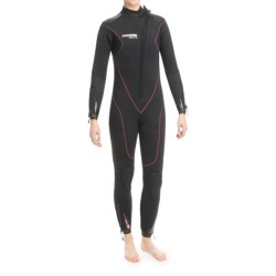 Camaro Stingray Semi-Dry Diving Wetsuit - 7mm (For Women) in Black/Red