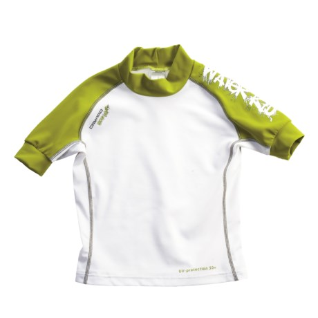 Camaro Water Kid Rash Guard - UPF 50+, Short Sleeve (For Boys) in White/Olive
