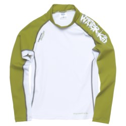 Camaro Waterkid Rash Guard Shirt - UPF 50+, Long Sleeve (For Boys) in White/Olive