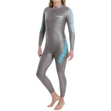 Camaro X-Pulsor Overall Triathlon Wetsuit - 5/1mm, Flotation Panels (For Women) in Silver/Blue - Closeouts