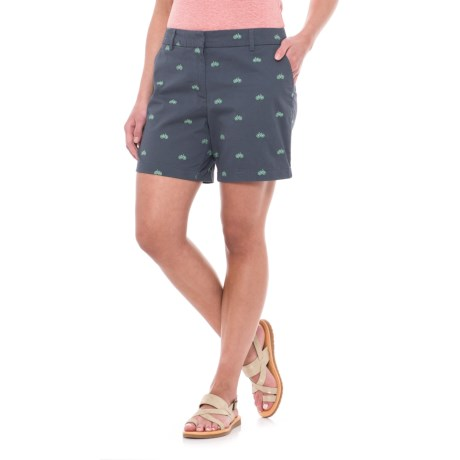 "Cambridge Dry Goods Embroidered Shorts - 6"" (For Women) in Horizon Navy/Mineral Green Bike"