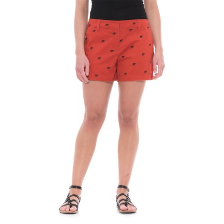 Cambridge Dry Goods Embroidered Shorts (For Women) in Terracotta/Black Elephant