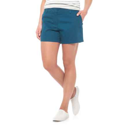 """Cambridge Dry Goods Slash Pocket Flat-Front Shorts - 4"""" (For Women) in Deep Sea - Closeouts"""