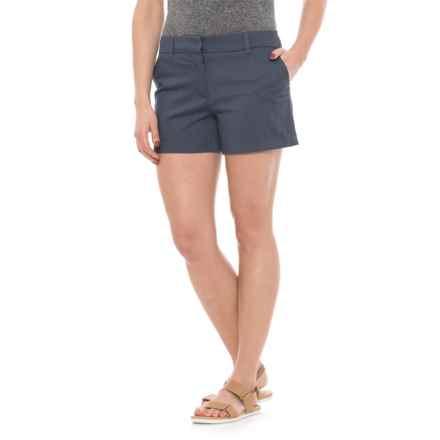 "Cambridge Dry Goods Slash Pocket Flat-Front Shorts - 4"" (For Women) in Horizon Navy - Closeouts"