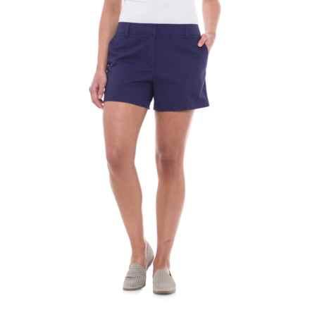 "Cambridge Dry Goods Slash Pocket Flat-Front Shorts - 4"" (For Women) in Indigo Dream - Closeouts"