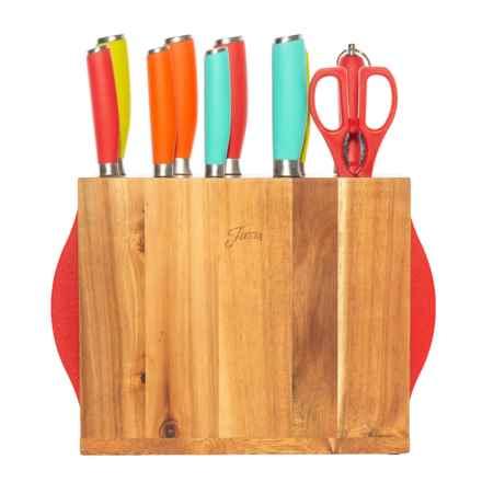 Cambridge Silversmith Fiesta Cutlery Set with Block - 12-Piece in Multi - Closeouts
