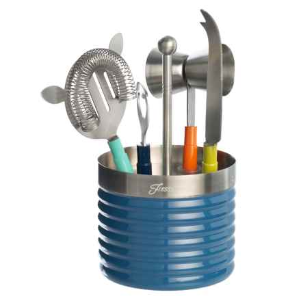 Cambridge Silversmith Fiesta Multi-Ribbed Bar Tool Set - 5-Piece, Stainless Steel in Blue - Closeouts