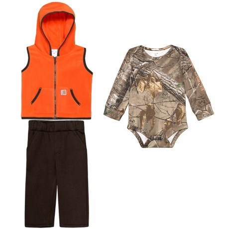 Image of Camo Hoodie Vest, Baby Bodysuit and Pants Set - Long Sleeve (For Infant Boys)