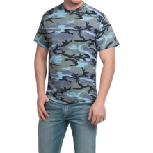 Camouflage T-Shirt - Short Sleeve (For Men and Women) in Blue Camo - 2nds