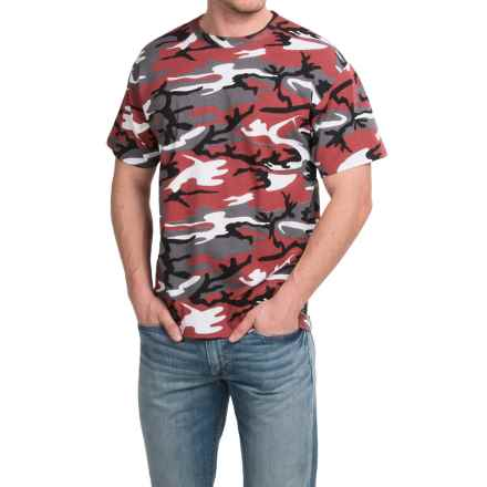 Camouflage T-Shirt - Short Sleeve (For Men and Women) in Red Camo - 2nds