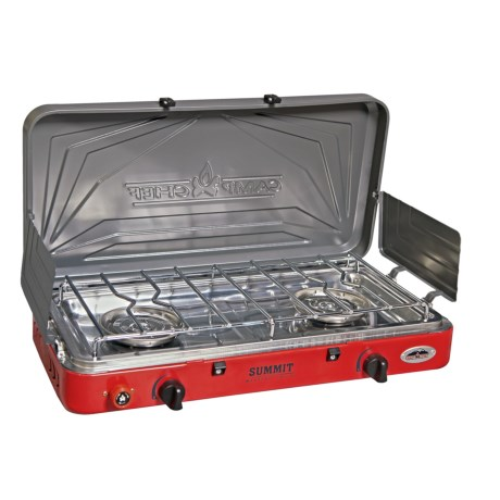 Camp Chef Mountain Series Summit Stove - 2-Burner in Red/Silver