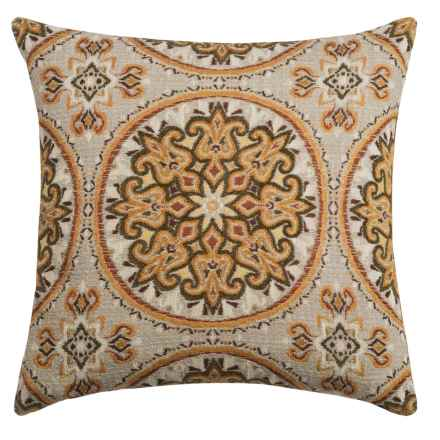 """Canaan Akola Chenille Medallion Decorative Pillow - 24x24"""", Feather-Down in Curry - Closeouts"""