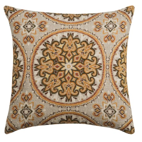 """Canaan Akola Chenille Medallion Decorative Pillow - 24x24"""", Feather-Down in Curry"""