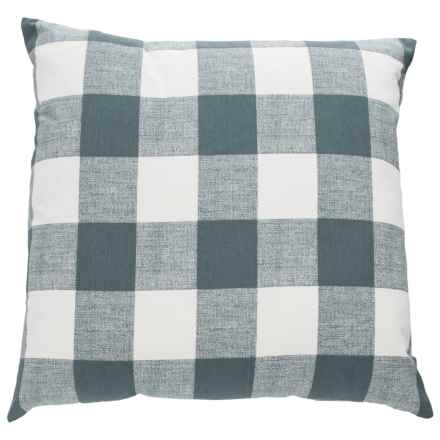 "Canaan Anderson Plaid Throw Pillow - 22x22"", Feathers in Gunmetal - Closeouts"