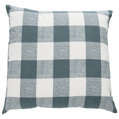 "Canaan Anderson Plaid Throw Pillow - 22x22"", Feathers in Gunmetal"
