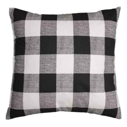 "Canaan Anderson Plaid Throw Pillow - 24x24"", Feathers in Black - Closeouts"