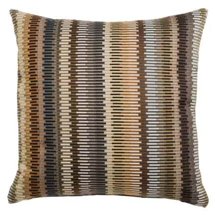 """Canaan Aquinto Layered Zipper-Stripe Decorative Pillow - 22x22"""", Feather-Down in Natural - Closeouts"""