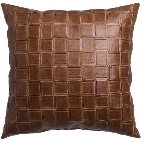 """Canaan Catmandoo Faux-Leather Decorative Pillow - 20x20"""" in Saddle"""